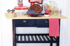 an IKEA Forhoja cart in black and with a light-colored wooden countertop as a home food station with much storage space
