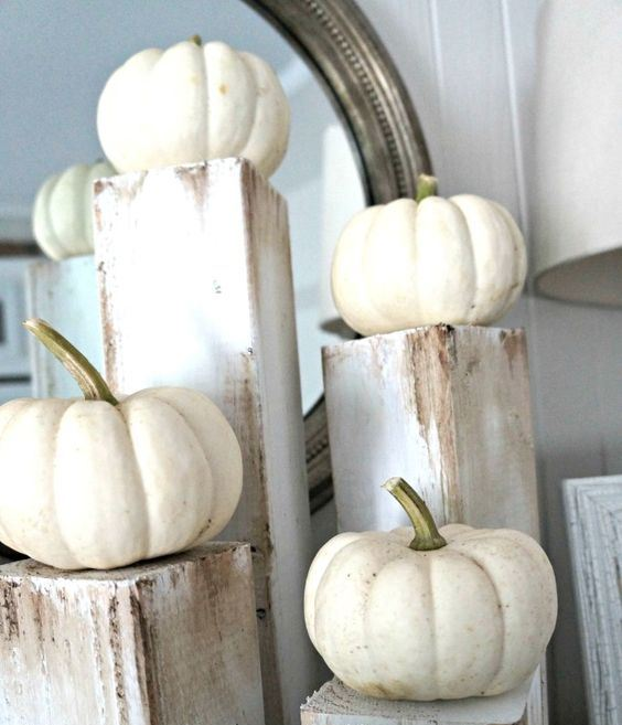 mini white pumpkins on rough wooden stands compose a rustic centerpiece with a shabby chic touch
