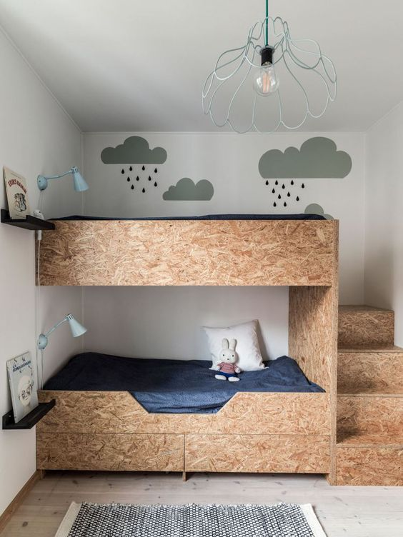 plywood bunk beds with storage drawers and blue wall sconces for a quirky and fun room
