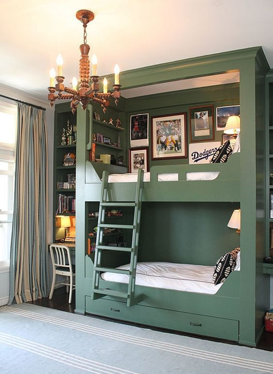 stylish green bunk beds with intergrated storage drawers, a ladder, wall lamps and a gallery wall