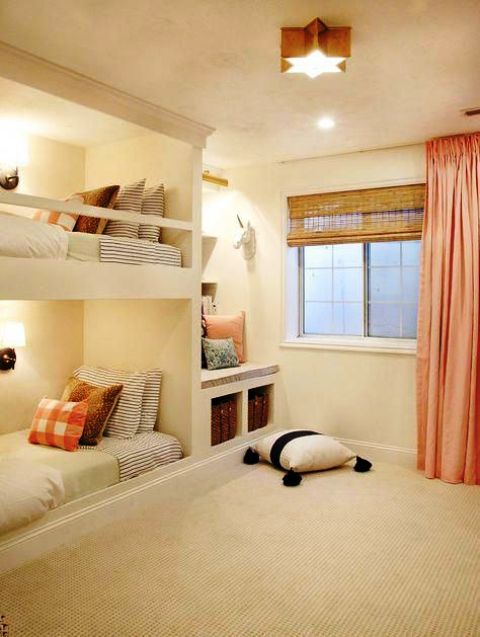 white built in bunk beds with wall lamps and railing along the upper bed to keep the kid safe