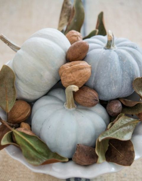 a natural centerpiece of a white bowl with milk paint pumpkins, nuts and foliage is great for Thanksgiving