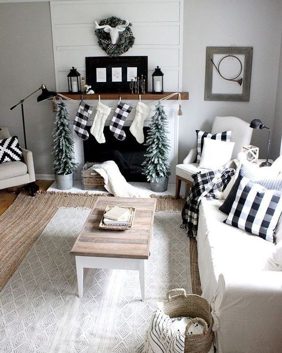 lots of plaid textiles will easily cozy up the living room reminding you of holidays coming