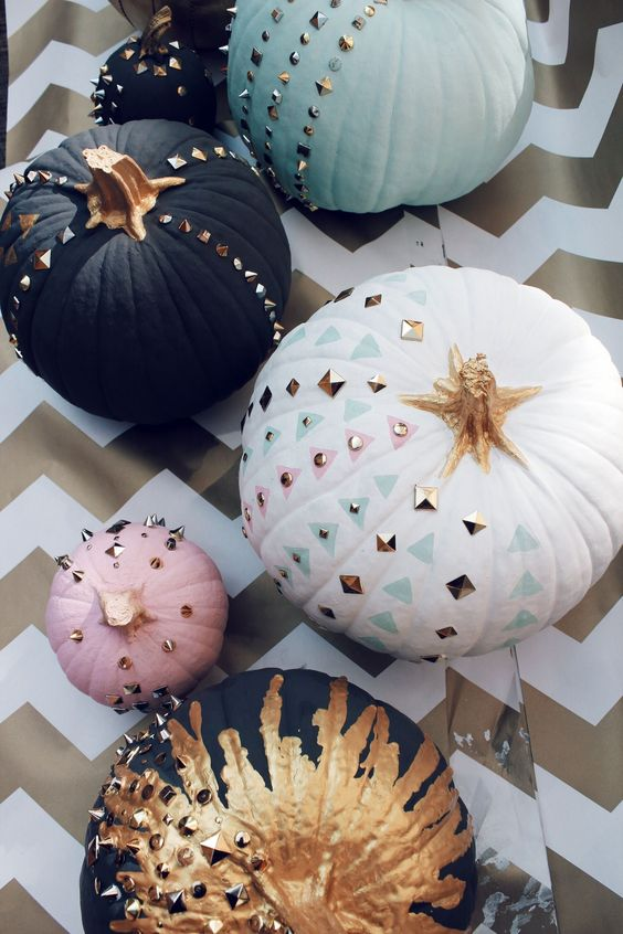 modern aqua, white, black and pink pumpkins with studs, painting, sequins and gold paint for a modern feel