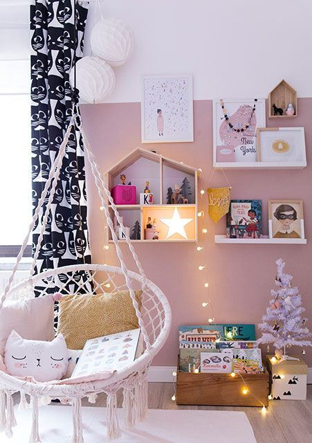 a star, some lights and a white Christmas tree with ornaments will create a holiday ambience in your kid's room
