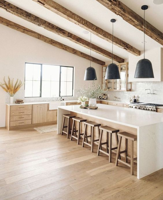 a neutral contemporary kitchen with light-colored cabinetry, rough wooden beams with black pendant lamps is chic and cozy