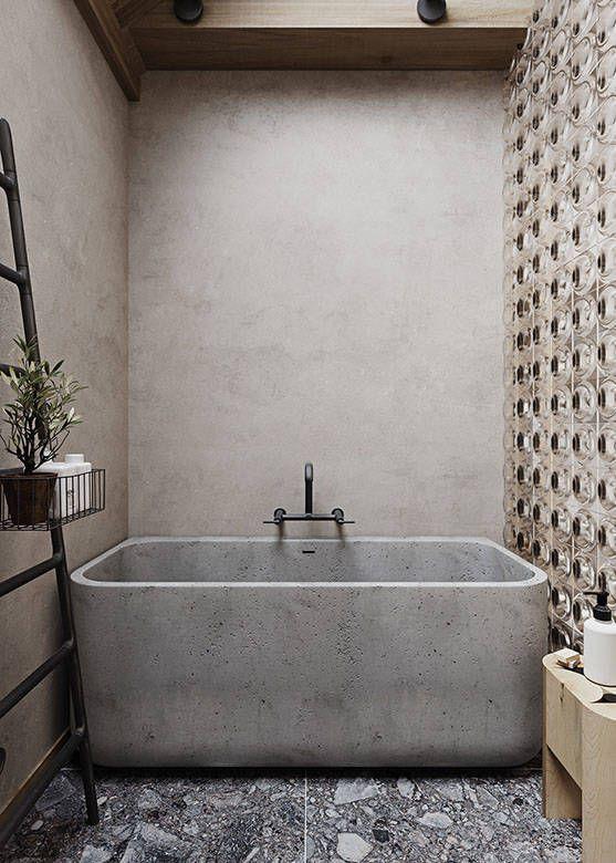 a wabi-sabi bathroom with concrete and a glass wall, a cocnrete bathtub, a stone floor and a black ladder is bold