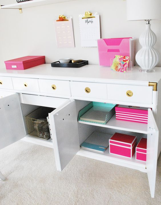a comfortable cabinet with closed storage departments and drawers where you can hide anything you want