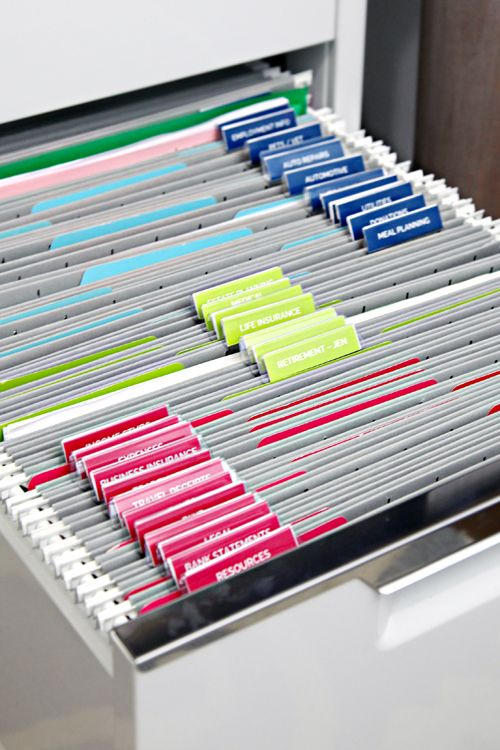 a comfortable filing system in a large drawer is a great idea that works for usual and for home office, too