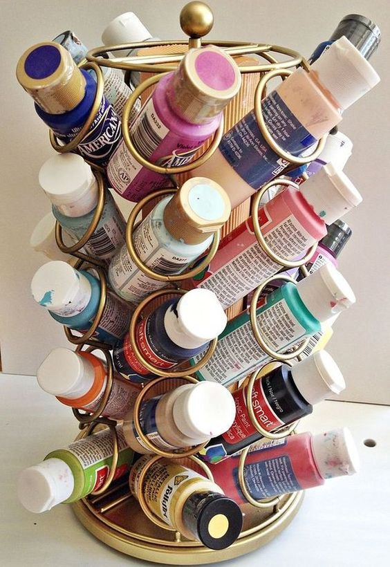 a cup carousel can be used for storing paints