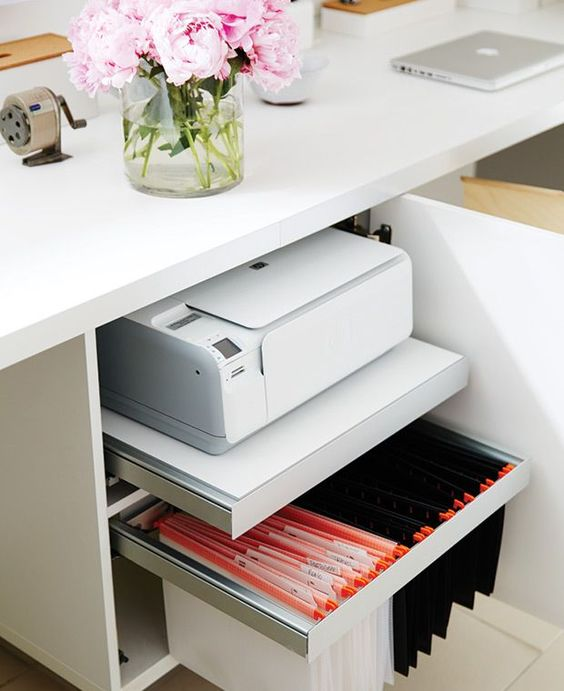 a desk with hidden storage - a file organizer and a shelf with a printer for comfortable storage and miximal functionality