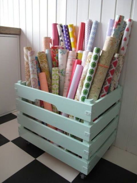 a pastel pallet box is ideal for storing wrapping paper