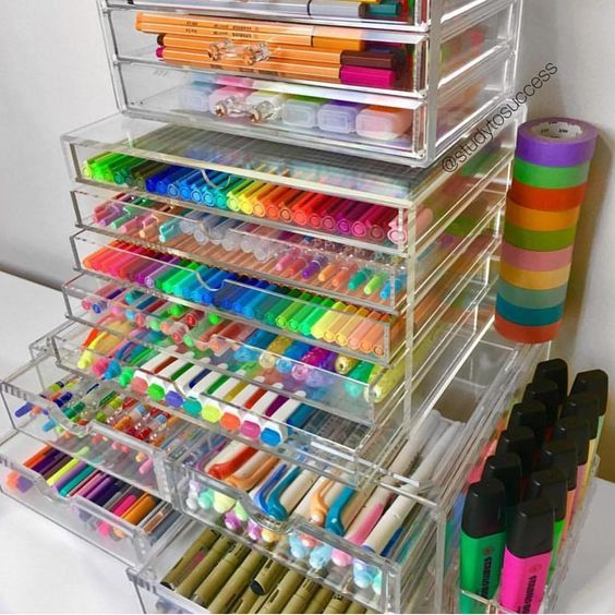 a sheer acrylic unit is ideal for storing markers, sharpies, pencils and tape
