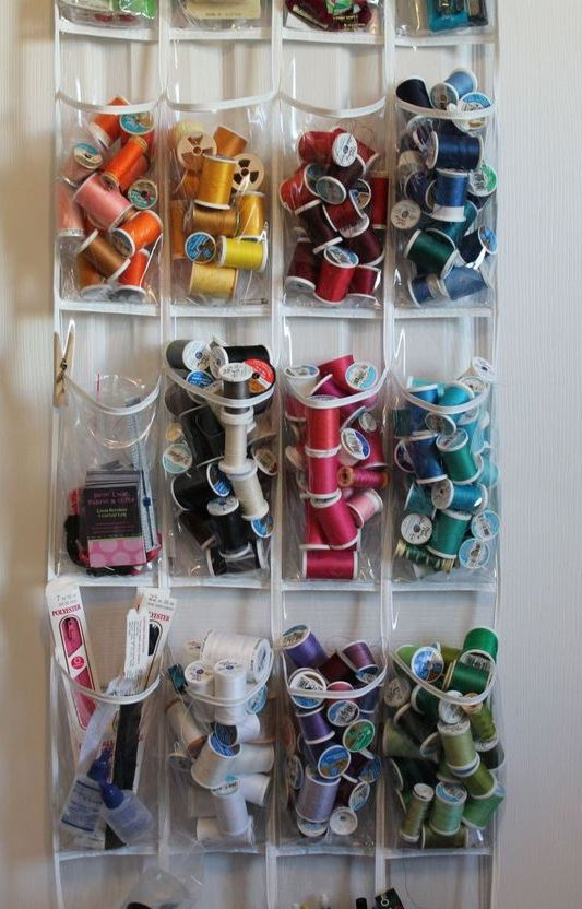 a sheer hanging storage unit with pockets is ideal to store yarn