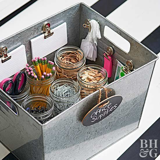 a simple box with jars for pencils, clothespins and other stuff plus tags and some notebooks