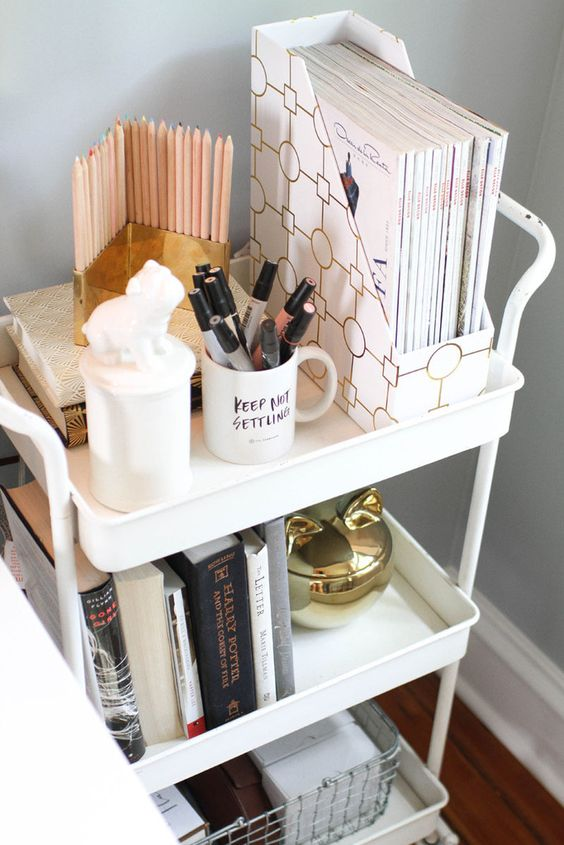 a white cart used for storage and organization   files, pens, books and pencils in a holder is a cool and mobile piece