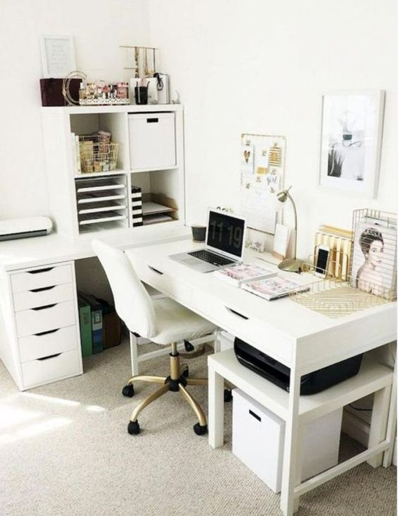 a white storage unit with open and closed storage departments and some drawers is a stylish idea