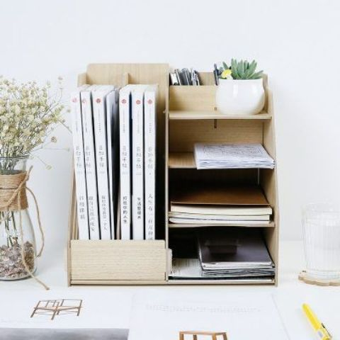 a wooden home office organizer is perfect for notebooks, files, agazines and even mini pots with greenery and succulents
