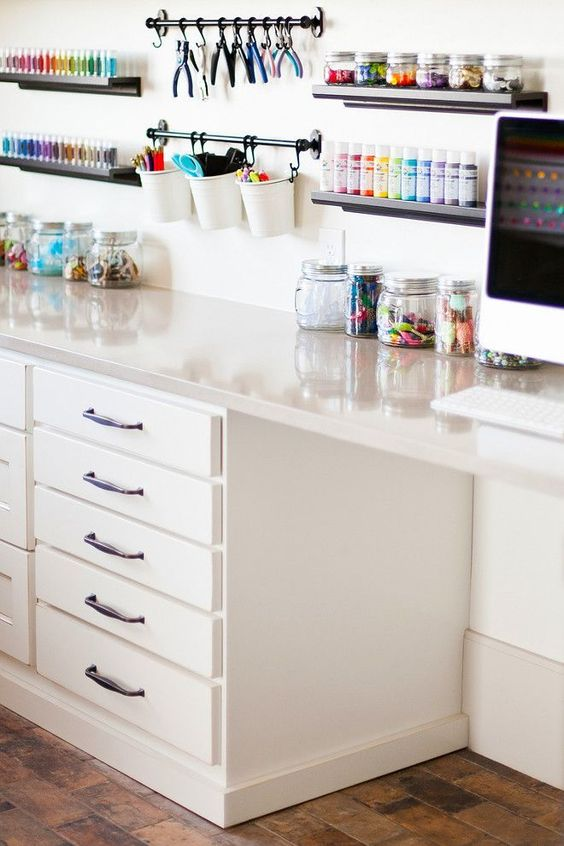 ledges and hook holders plus jars will help you organize if you don't have much stuff