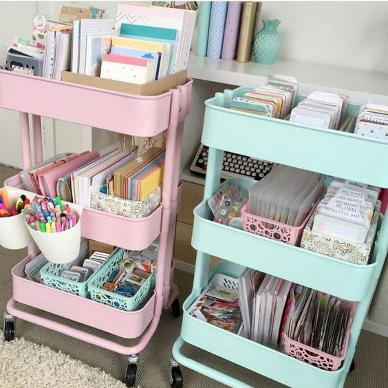 pastel IKEA Raskog carts are ideal for storage anything and can be moved around the house