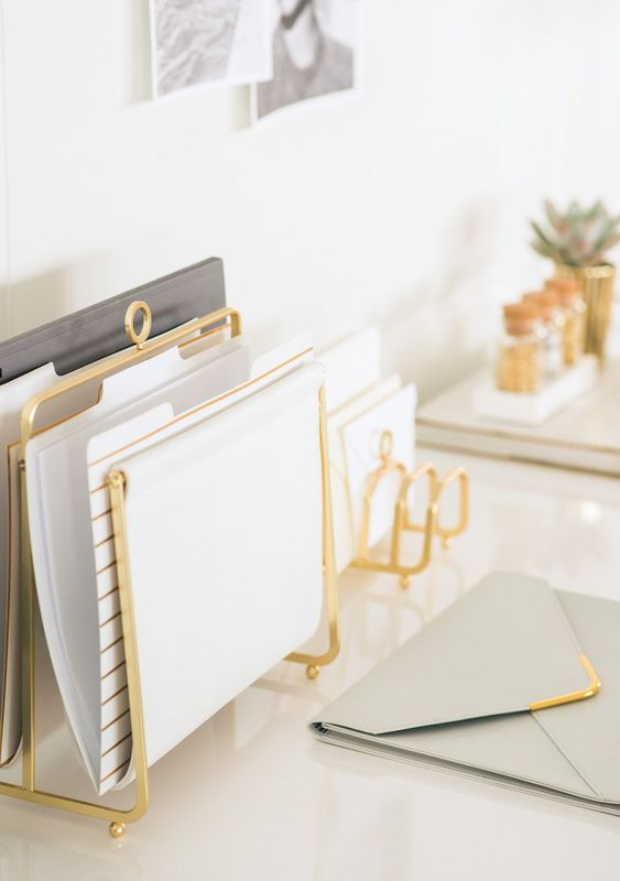 several gold holders for files and documents will stylishly complete your desk look and will be comfortable in using