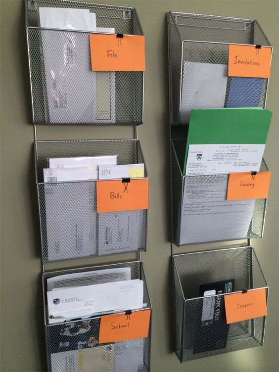 wall-mounted wire holders for documents and files is a great idea for small home offices