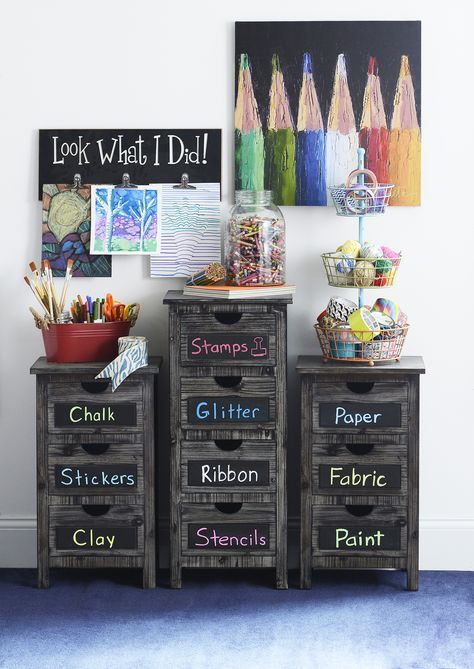 weathered wood drawer units with chalkboard labels are great for storage