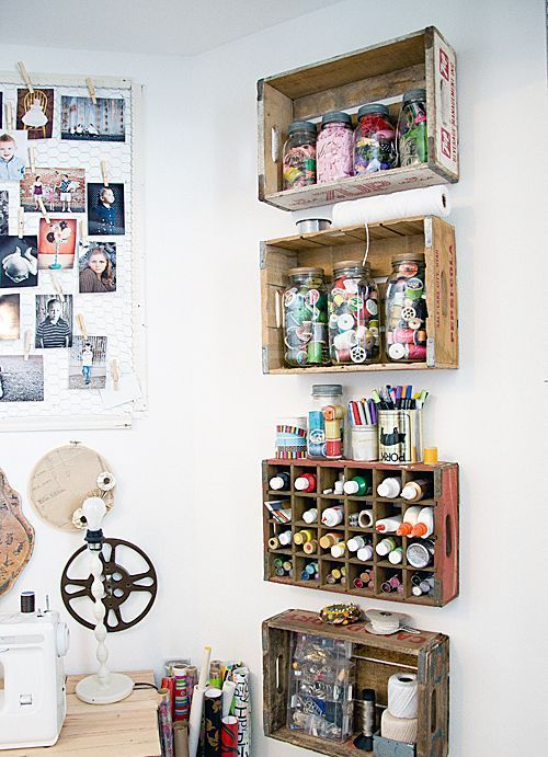 wood crates can accommodate paints, yarn, twine and other small stuff