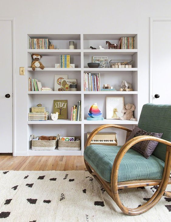 a built in bookcase will accommodate a lot of things   from books and toys to any stuff you need for the baby