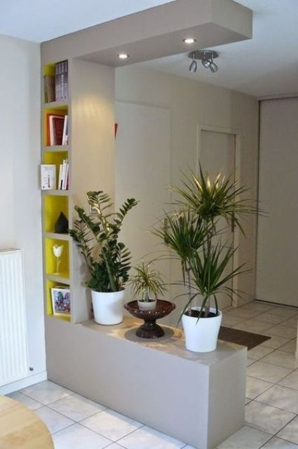 a doorway storage unit with some potted plants and open shelves for storage and display and built-in lights is ideal to separate the spaces