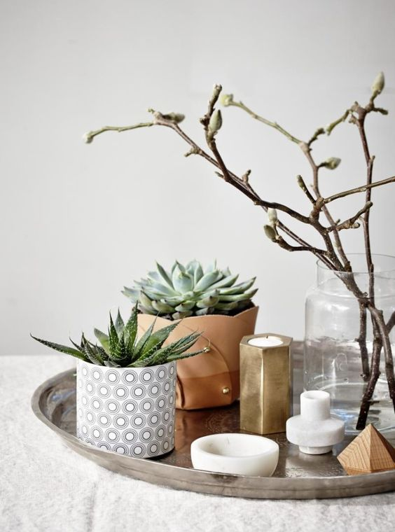 a stylish Scandinavian combo of a tray with potted succulents, candles and a glass with blooming branches