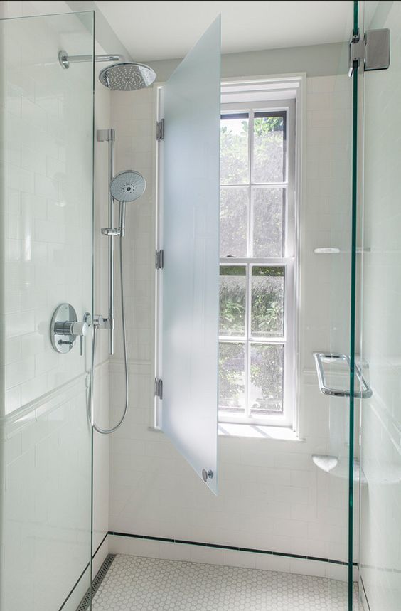 add a frosted glass cover to your bathroom window to keep the space private in case you need that