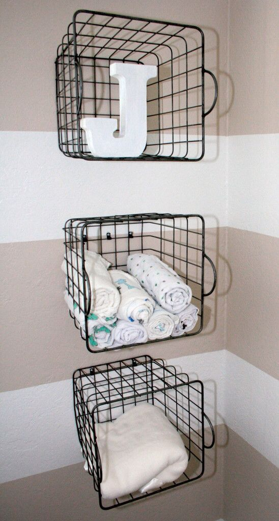attach wire baskets to the wall and store whatever you like in them