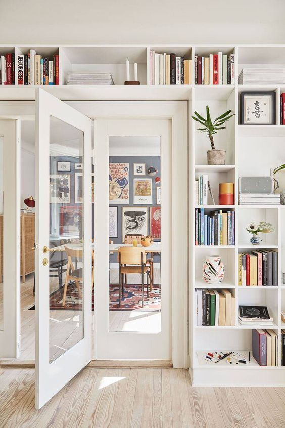 open shelves surrounding the doorway and showing off books, potted plants and artworks is a very cool idea to rock