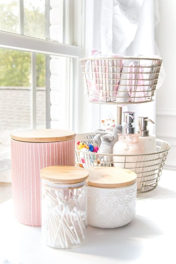 wire baskets and glass jars with wooden lids will help you organize all the small stuff you have