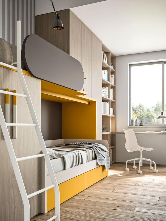 a contemporary shared teen boy bedroom with a bunk bed with much storage, open shelves and a floating desk