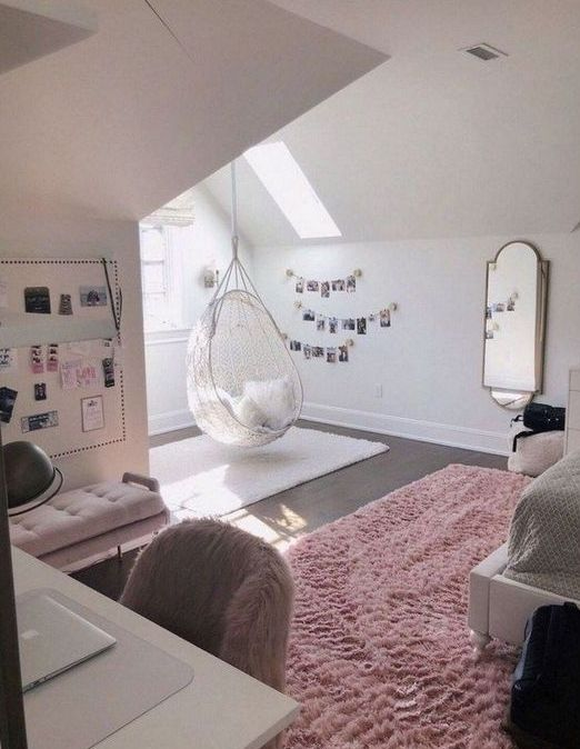 a delicate teen girl bedroom with skylights, blush and pink touches, photos, faux fur and grey touches
