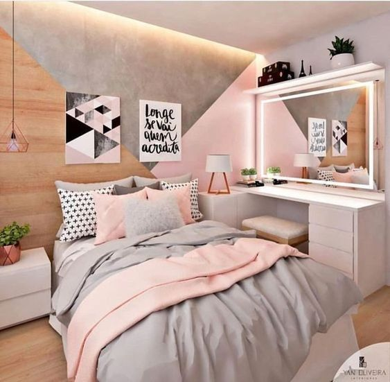 a modern teen girl bedroom with grey and pink decor, wih graphic artworks, neon lights and built-ins