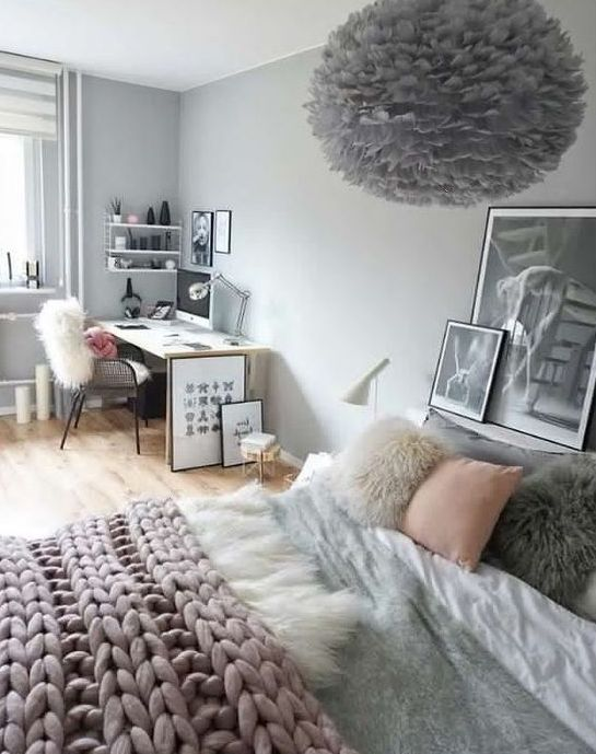 a sweet teen girl bedroom in grey, black, white and blush, with a studying and sleeping zone and a fluffy lamp