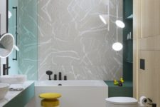 creative pendant and ceiling lamps over the tub match the bathroom decor and enlighten the space with chic