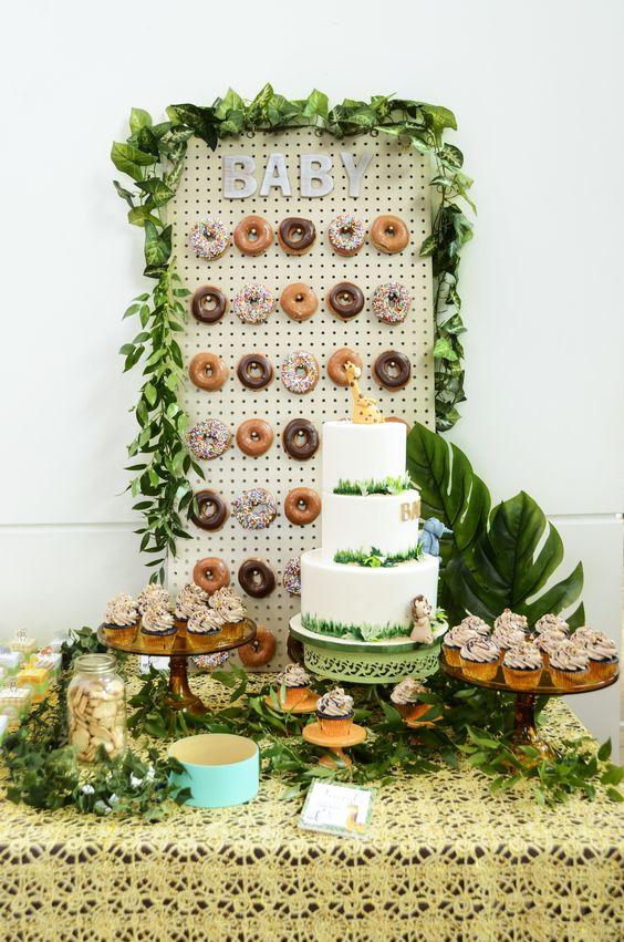 49 Cute Baby Shower Dessert Table Decor Ideas Digsdigs Green little refreshing tropical palm leaf circular border. 49 cute baby shower dessert table decor