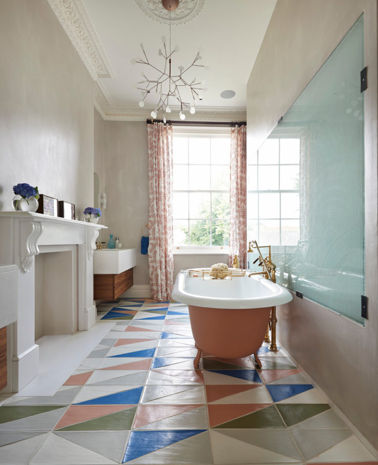 patterned bathroom floor is perfect choice when you want your bathroom looks eclectic (Drummonds Bathrooms)