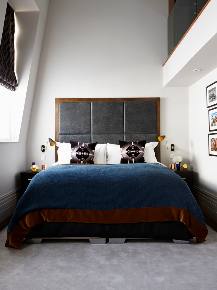 dark wood headboard with gray fabric panels looks stylish and creative (Violet & George)