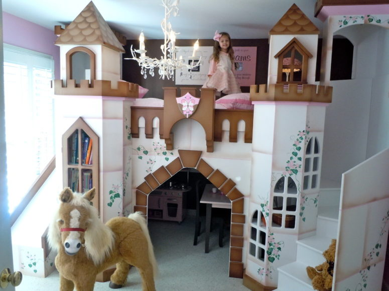 A pink and brown house with its own staircase is a luxurious solution for a spacious kids room. (Sweet Retreat Kids)