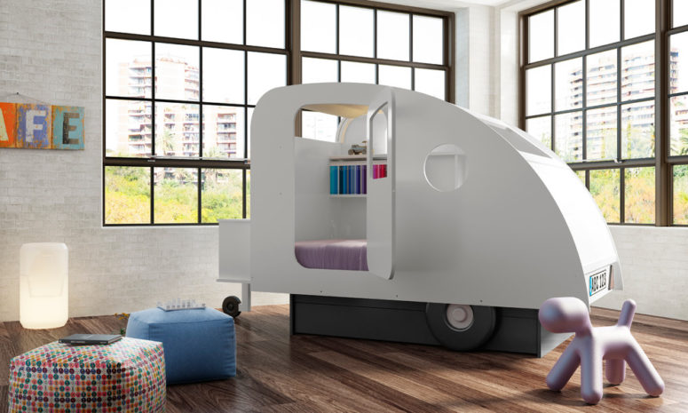 A personal living van right in a kids room is almost as cool as the real one. (Cuckooland)