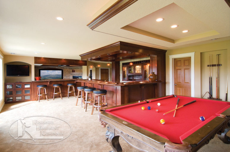 a basement bar and game areas should provide a variety of seating options (FBC Remodel)