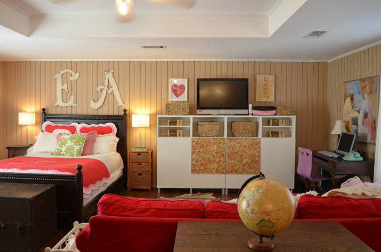 red upholstery works well in a teenager's room (Sarah Greenman)