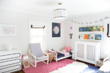 Make a cute cover and Poang chair would look awesome in a all-white kids room for a boy and a girl