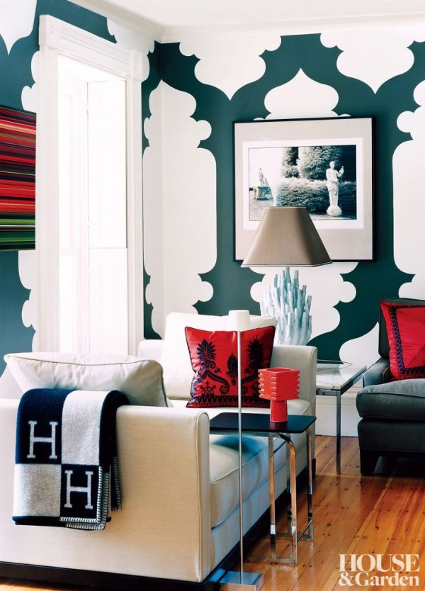 Here The Dark Green And Bright Red Look Great Together. White Space Between  Patterns Balances