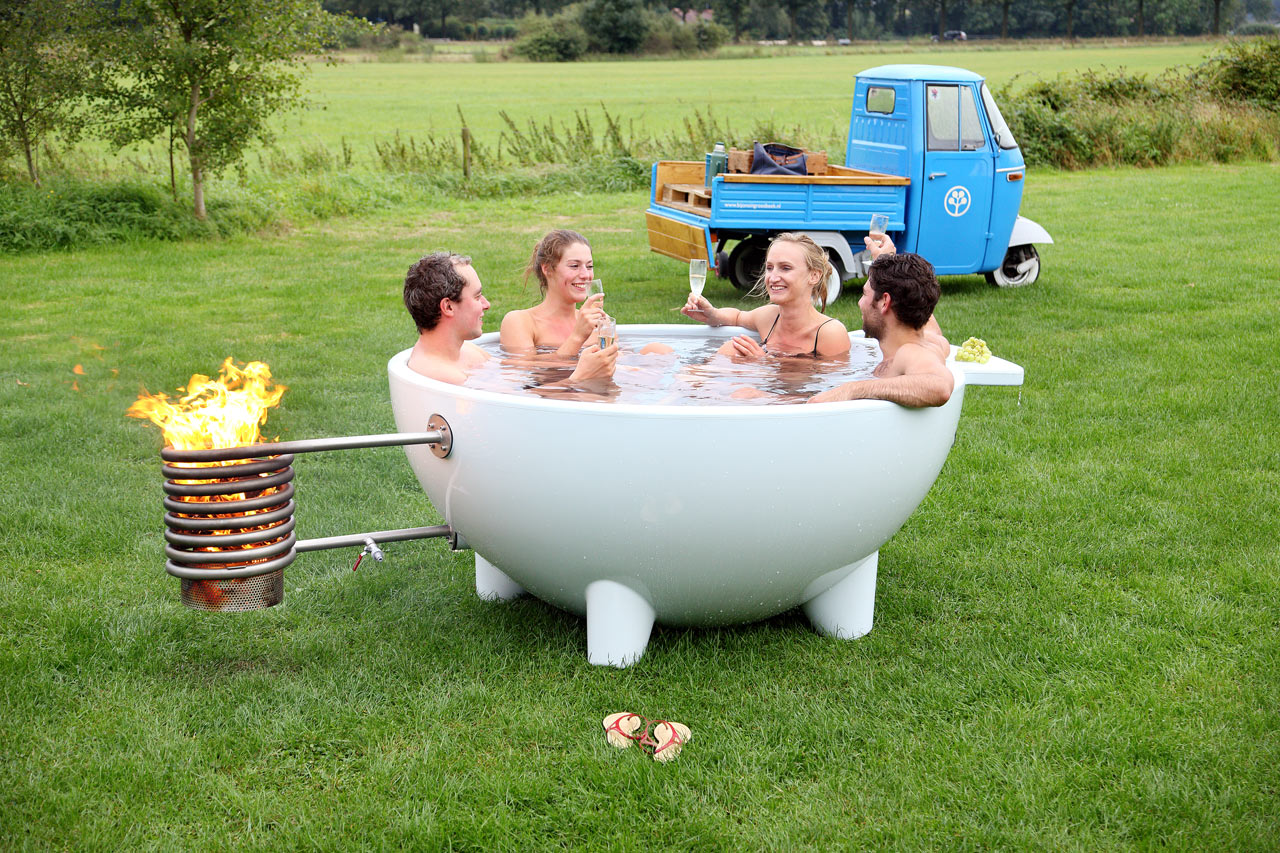 Contemporary Mobile And Wood Burning Hot Tub